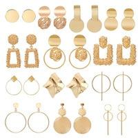 New Gold Metal Earrings For Women Girls Round Geometric Earrings Indian Brincos Accessories Female Vintage Circle Earrings 2019