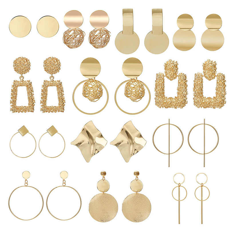 New Gold Metal Earrings For Women Girls Round Geometric Earrings Indian Brincos Accessories Female Vintage Circle Earrings 2019
