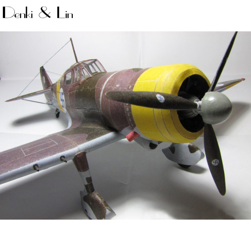 1:32 3D Fokker D.XXI Fighter Plane Aircraft Paper Model Assemble Hand Work Puzzle Game DIY Kids Toy Denki & Lin