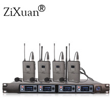 Беспроводной микрофон 4 приемника 4 наушники профессиональный микрофон 4 канала беспроводной передатчик на лацкан+ УВЧ