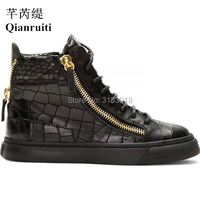 Newest Man Flats Shoe Mid Top Zipper Sneakers Men High Quality Fashion Mens Shoes Black Youth Casual Shoe