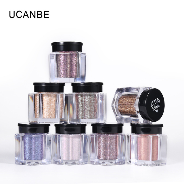 UCANBE Glitter Eye Shadow 8 Colors Loose Powder Pigments Diamond Shine Eyeshadow Waterproof Makeup Metallic Crystal Nude Powder 1