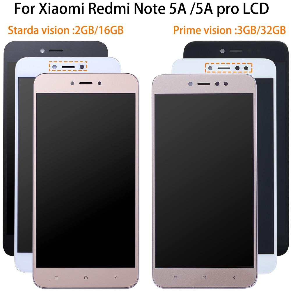 Prueba del 100% para xiaomi Redmi nota 5A pantalla LCD pantalla táctil digitizador Asamblea + reemplazo de marco para xiaomi nota 5a prime/pro