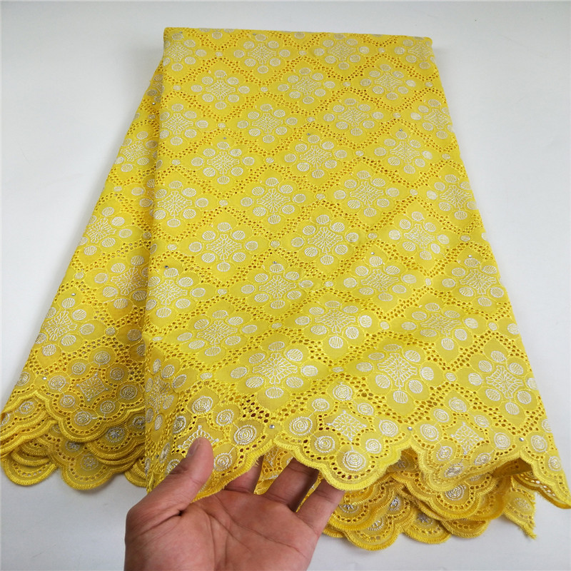 African Cotton Swiss Voile Lace Fabric High Quality With Stones Swiss Voile Lace In Switzerland African