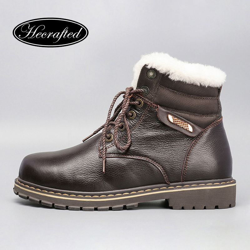 Natural Wool Men Snow Boots Size 38~50 Warmest Genuine Leather Russian style Men Winter Boots #YM8815 warmest genuine leather snow boots size 37 50 brand russian style men winter shoes 8815