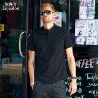 Enjeolon новый бренд летние футболки с коротким рукавом для мужчин 3 цвета однотонные хлопковые рубашки Мужской Повседневная рубашка для мужчин без воротника одежда C2248