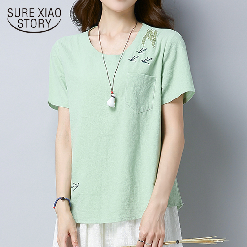 Dependable New 2018 Summer Sweet Solid Cotton Linen Women Shirt Blouse Short Sleeve Women Tops Blusas Embroidery Female Clothing D834 30 With The Most Up-To-Date Equipment And Techniques Women's Clothing