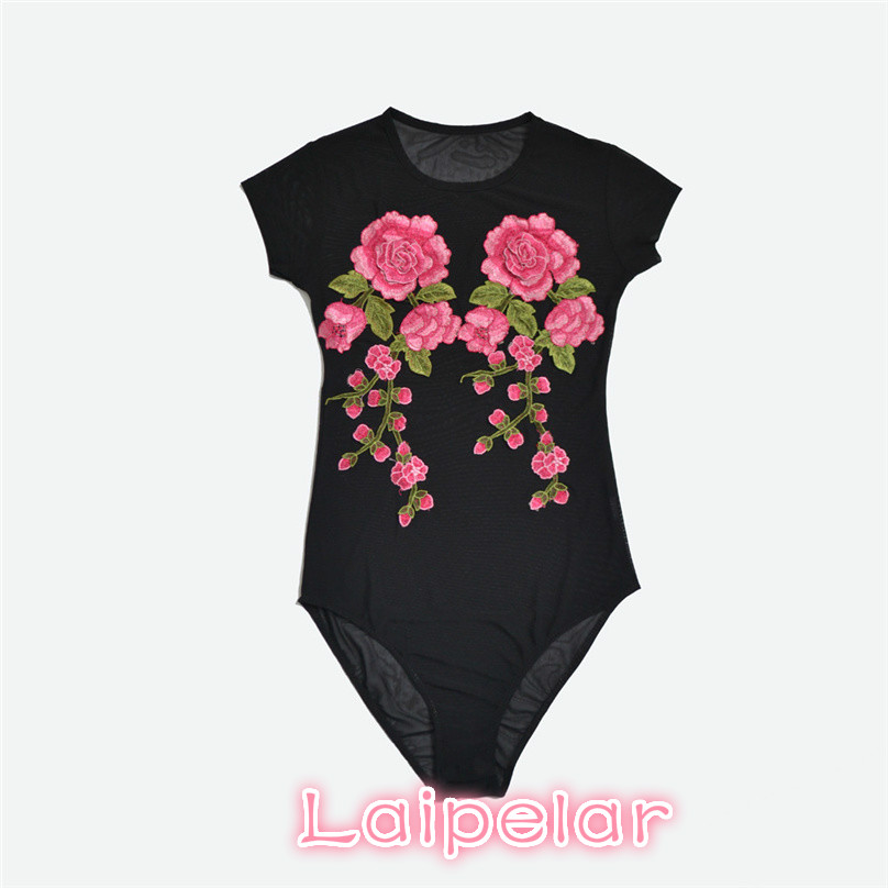 2018 Hot Bodysuit Women Jumpsuit Sexy Rompers Floral Appliques Sheer Mesh Overalls for Women Bodysuit Sexy Playsuit XC3140 in Bodysuits from Women 39 s Clothing