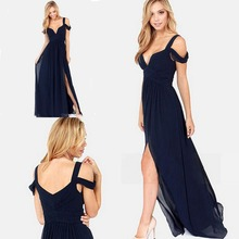 New Arrival Long prom Dress 2015 Sweetheart Navy Blue Bridesmaid Dresses Free Shipping