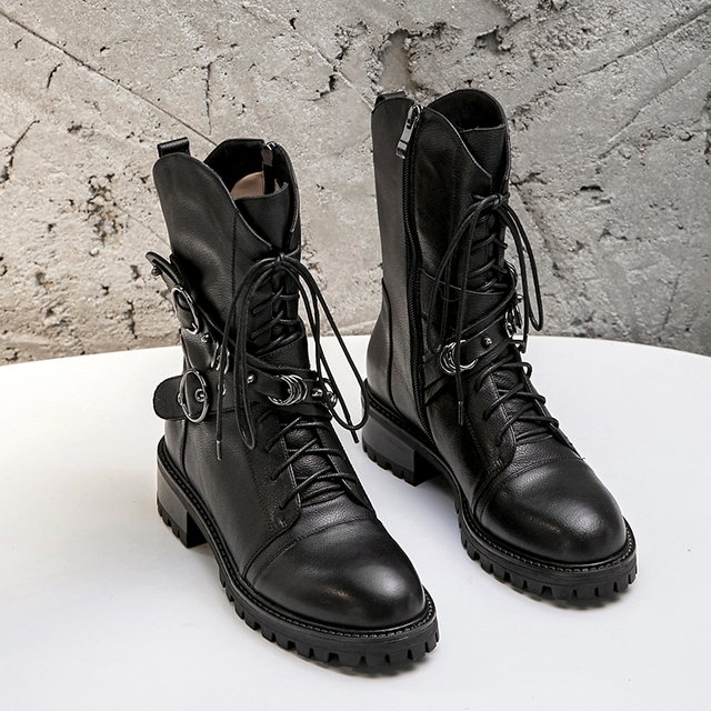 Prova Perfetto High Quality Genuine Leather Ankle Boots For Women Lace Up Platform Boots Fashion Zipper Punk Boots Flat Shoes 3