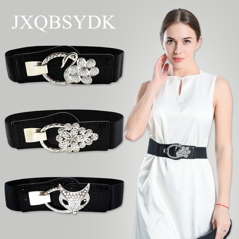 JXQBSYDK Luxury   Belts   for Women Crystal Buckle High Quality Fashion Elastic Slim Waist Corset   Belts   Female cinto feminino