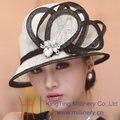 Бесплатная Доставка Мода Нового Прибытия Цветок Лента Форма Листа Украшения Sinamay Шляпа женская Шляпа Летом Вс-Затенения Моды Шляпа солнца