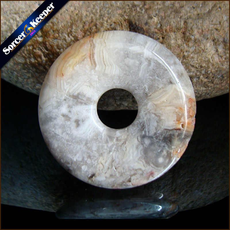 Forma redonda Donut Natural Rosetta Louca Do Laço Moda Jóias Ágatas Ágatas RS785 Ping Fivela Pingente de Colar Melhor Amigo Presente