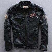 NEW ! 2017 New Fashion Men's Leather Jacket cowhide genuine leather biker men jacket Punk Motorcycle Bomber Winter Coats S-XXXXL
