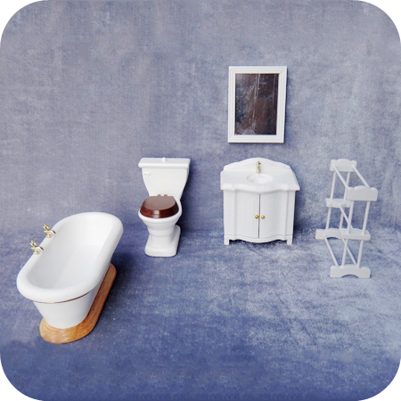 Perfect Free Shipping 1:12 Scale Miniature Dollhouse Doll House Bathroom Furniture  Sets Toilet Washstand Towel