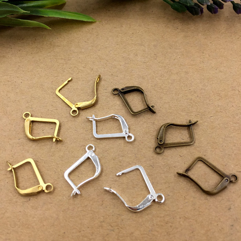 13 20mm Copper Ear Hook Clasp Earring Wires Silver Antique Bronze Original Brass DIY Jewelry Accessories