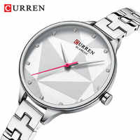 CURREN Women Watch Elegant Quartz Silver Slim Dial Crystal Wristwatch Stainless Steel Band Clock Lady Reloj Mujer Gifts For Wife