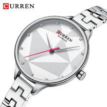 купить CURREN Women Watch Elegant Quartz Silver Slim Dial Crystal Wristwatch Stainless Steel Band Clock Lady Reloj Mujer Gifts For Wife дешево