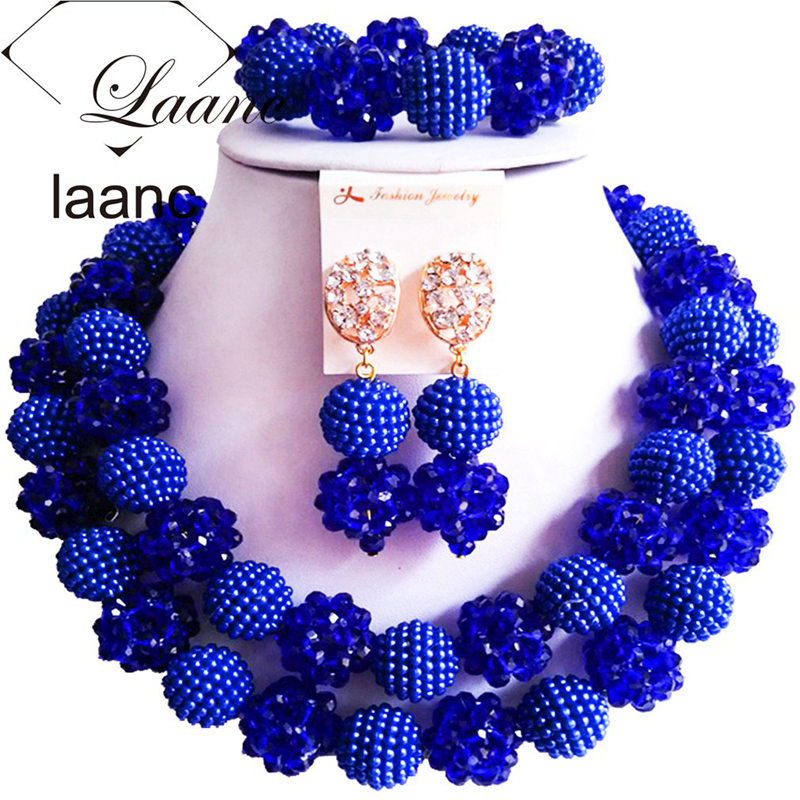 Laanc Brand Nigerian Wedding Costume African Beads Necklace Royal Blue Jewelry Set Crystal Ball Simulated Pearl AL320Laanc Brand Nigerian Wedding Costume African Beads Necklace Royal Blue Jewelry Set Crystal Ball Simulated Pearl AL320