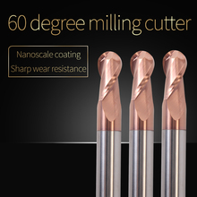 1PCS Cnc Sprial Bit Milling Cutter Ball Nose End Mills HRC60 2 Flute Cutting Steel Alloy Carbide Ball Nose End Mill Cutter Tools 7pcs tungsten carbide end mill 2 flutes ball nose engraving cnc radius 0 5 2 0mm end mill router bit set milling cutter