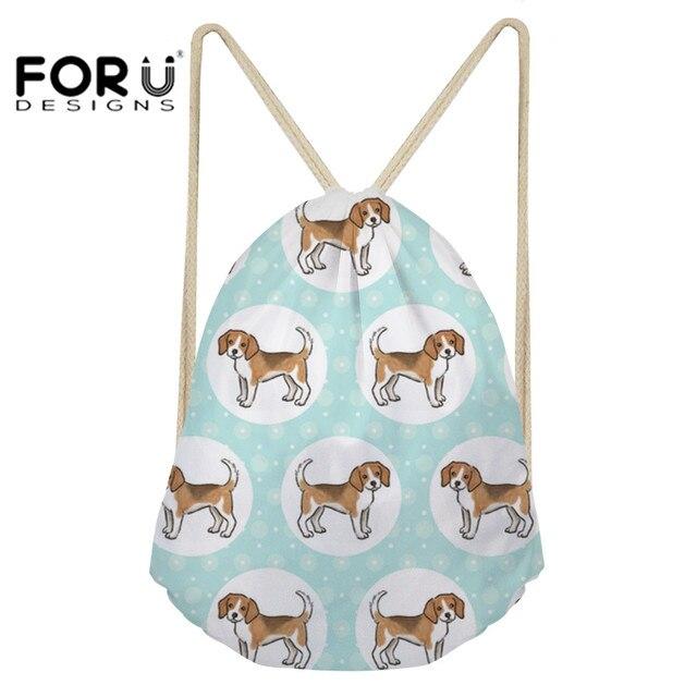 b4d26cc7aa FORUDESIGNS Sport Bag for Children Fitness Girls Drawstring Bags Beagles  Pet Dog Print Training Yoga Softback Outdoor Gym Sack