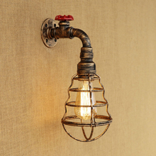 Vintage Iron wall lamp RETRO Water pipe style metal lampshade for living room bedroom hallway restaurant bar caffe E27 110v 240v