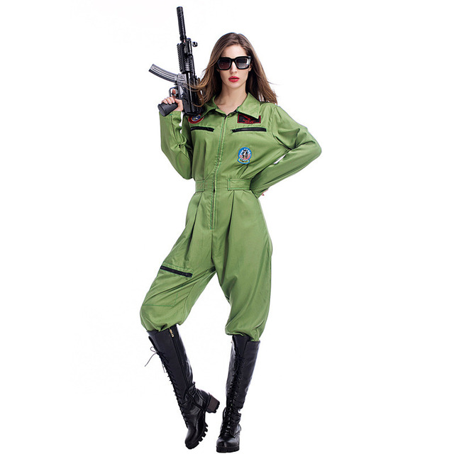 403a041f9c6e Army Green Paratrooper Jumpsuit Women s Flight Uniforms Female Halloween  Green Air Force Costume Army Soldier Military Uniform