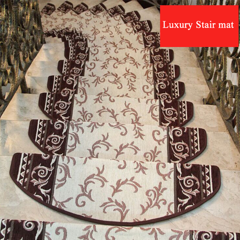 Non-slip Adhesive Stair Carpet Step Stairs Mats Anti-skid Staircase Step Rug Protection Cover for Household Accessory No Install