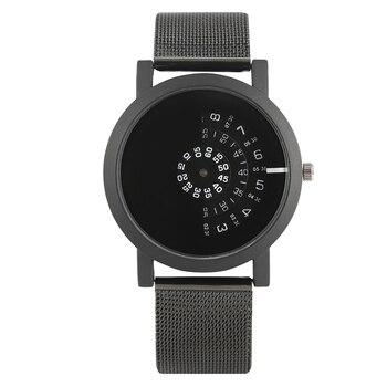 2a2c01c196eb Cuarzo Reloj creativo giradiscos hombres mujeres Boy Reloj banda de malla  Reloj Minimalista Hombre Erkek Kol Saati Negro Plata