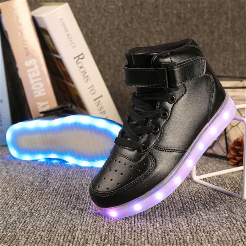 New Children Casual Sports Shoes Student Sneakers High Top Glowing Shoes Boys Girls USB Charging LED Light Shoes Kids 02B