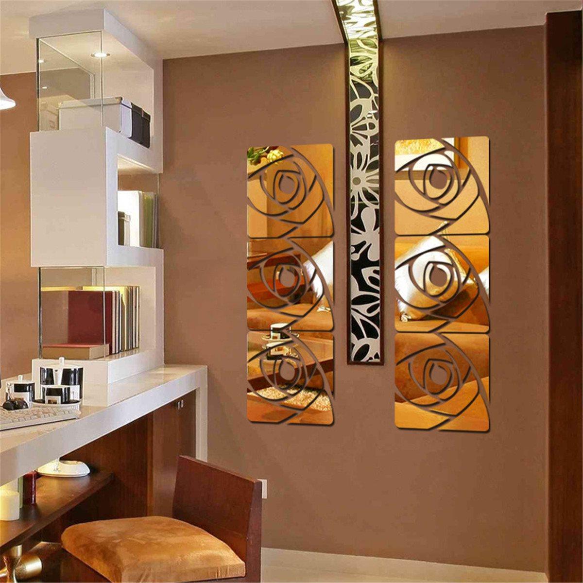 online get cheap free shipping modern furniture aliexpresscom  - d mirror wall sticker rose pettern acrylic modern for home decoration roomdinner room kitchen decal