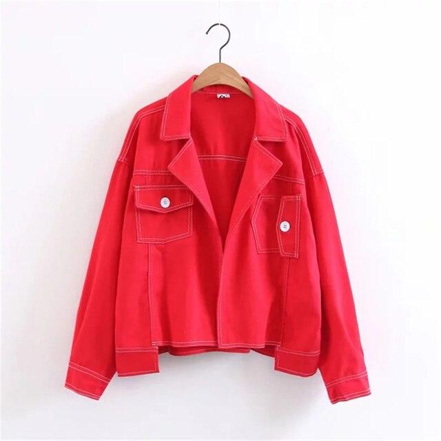 Women Lapel Loose Denim Jacket Long Sleeve Couple Suit Tumblr