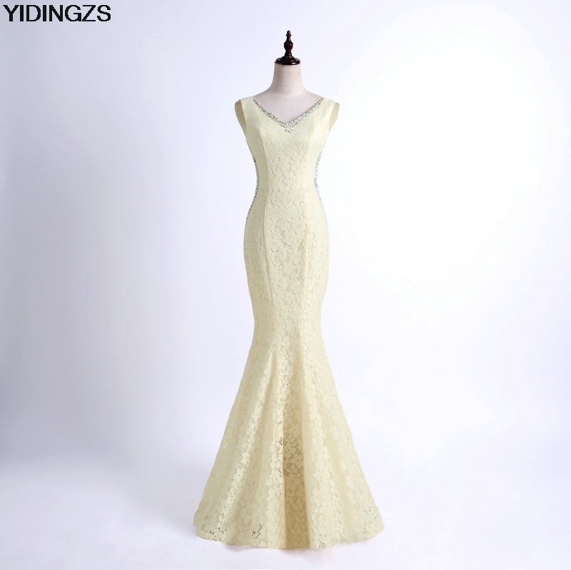 YIDINGZS Simple Lace Bridesmaid Dresses Champagne Color Beaded Mermaid Wedding Party Dress Under 50$