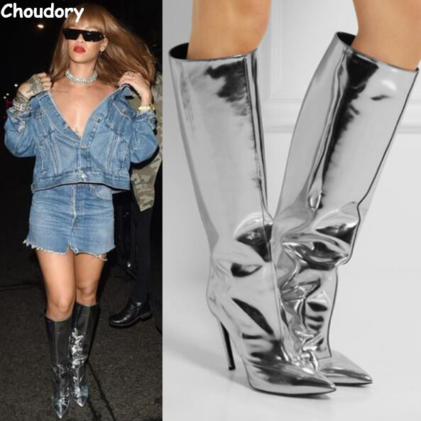 ФОТО Spring&Autumn Celebrity Style Metallic Mirror Leather Silver Women Knee High Boots Pointed Toe Stiletto High Heels Dress Shoes