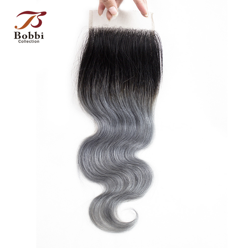 Bobbi Collection T 1B Dark Grey Lace Closure 12 Inch Brazilian Body Wave Black Root Dark Grey Remy Human Hair Free Middle Part
