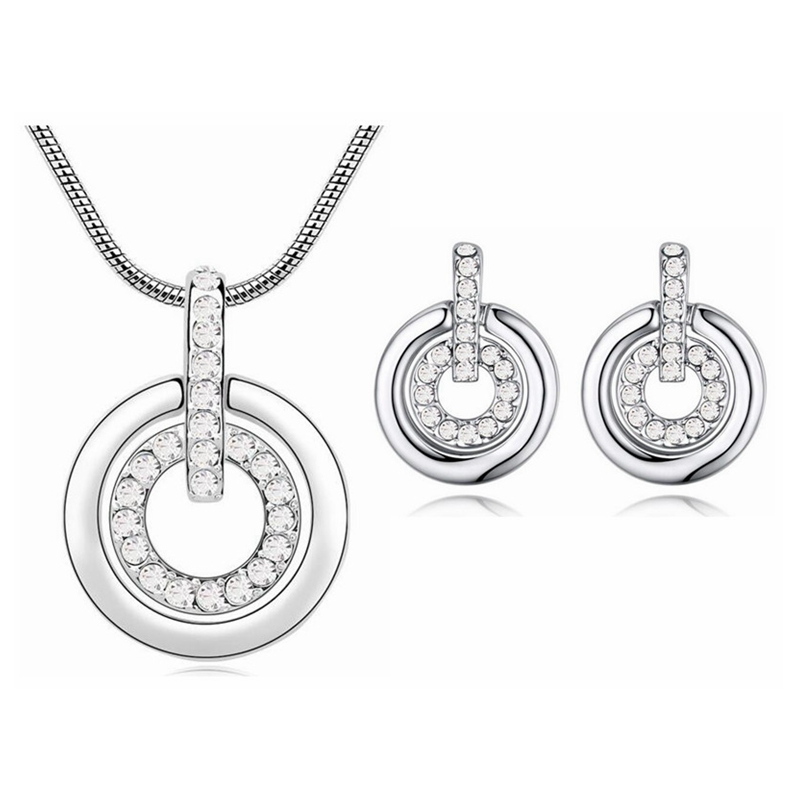 2017 New Crystal From Swarovski Jewelry Set Fashion Double Circle Pendant Necklace Earrings Women Wedding Accessories