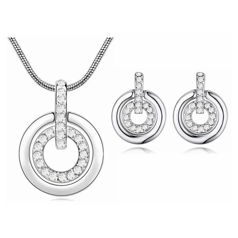 Collier et boucles d'oreilles en cristal Swarovski pour femmes, ensemble de  bijoux, pendentif Double cercle, accessoires de mariage, nouvelle ...