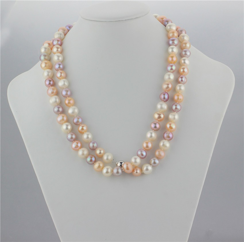 20 Inch 925 Sterling Silver Rhod-plat 9-10mm White Baroq Freshwater Cultured Pearl 7-stat Necklace
