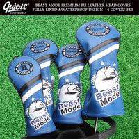 BEAST MODE Golf Woods Covers Driver Fairways Hybrid HeadCover Set Vintage Series 135H 4pcs/set For Men Women