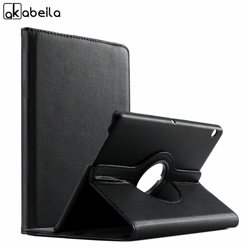 AKABLEILA Litchi Pattern Flip Tablet PU Leather Cases For Huawei MediaPad T3 9.6 inch Case 360 Rotating Stand Protective Cover