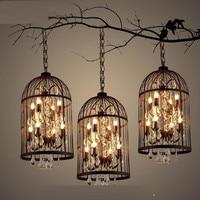 Crystal bird cage chandelier interior creative crystal chandelier retro industrial wind LED chandelier complex style