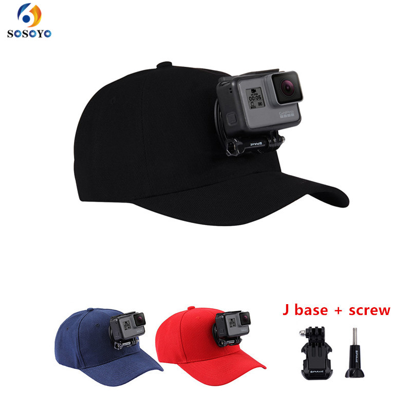 Djustable Sun Hat Cap Sport camera Baseball Hat WJ-Hook Buckle Mount Screw  for Gopro Hero 6543SJCAMXiaomi yi Accessories