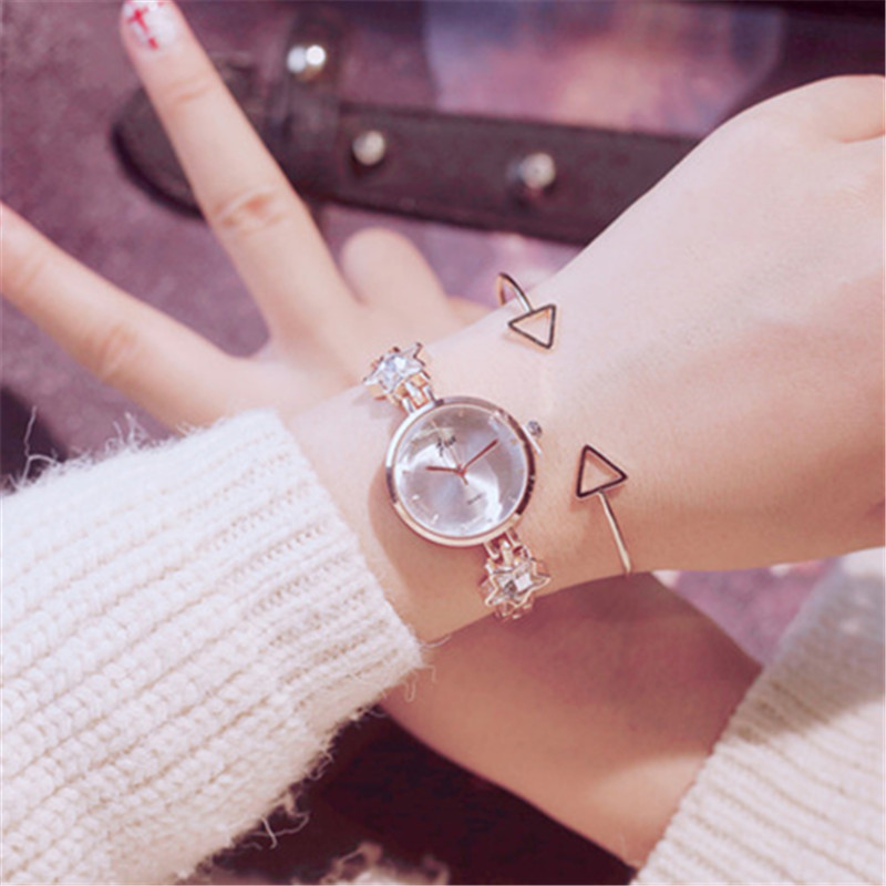 Lucky Star Crystal Clock Women Watches 2018 Montre Femme Bracelet Metal Luxury Brand Wrist Watches For Women Dress free shipping famous brand luxury women watches lady lucky clover dress clock rhinestone full crystal bangle bracelet bead charm