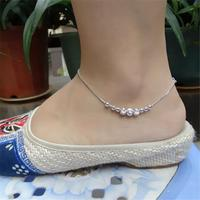 20cm+3cm High quality fish kiss beads female Korean Anklet 925 silver retro Japan simple Korea female student summer jewelry