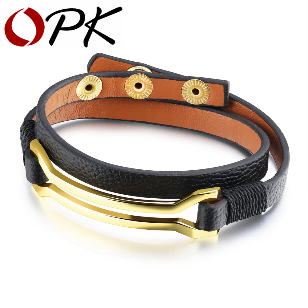Opk Chic Double Layer Leather Bracelet For Women Ladies Gold Color Charm  Snap Fastener Length Resizable Warp Wristband Ph1119
