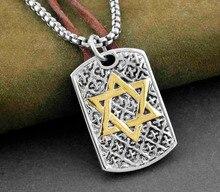 Mens תכשיטי שרשרת תליון תג כלב כוכב מגן דוד יהודית