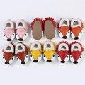 Натуральная Кожа Детские мокасины Теплые Детская обувь Мило маленькая Лиса Детская обувь Смешанные цвета Меховые Первые Ходунки 11-14.5 см