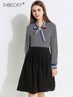 E.BECKY Black and White Plaid Shirt Dress Chiffon Knee Length Black Long Sleeve Dress Shirt Women Party Elegant Spring Dresses