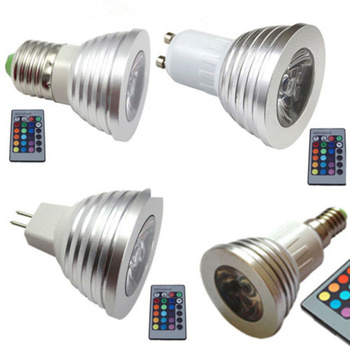 10pcs/lot,E14 GU10 3W RGB LED Bulb AC110V 220V Dimmable Changeable Color With 24key Remote Control (Battery Include)