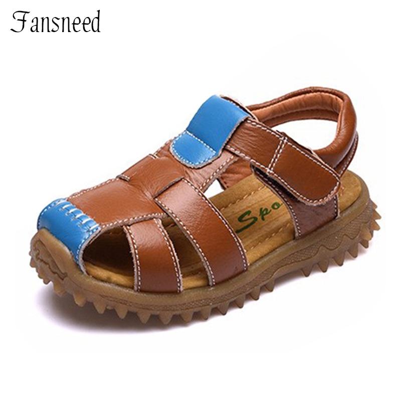 54ad30c843a 2016 δερμάτινα σανδάλια παπούτσια δερμάτινα σανδάλια Baotou νέο παιδί